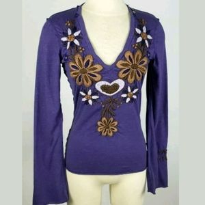 Johnny Was Joystick Floral Embroidered Purple Top